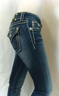 ME Womens Jeans Glitz Glam Crystal Wide Pick Stitch Skinny Leg