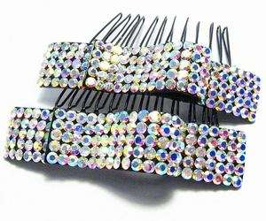 2PC RIBBON AB W AUSTRIAN RHINESTONE CRYSTAL HAIR COMBS COMB BARRETTE