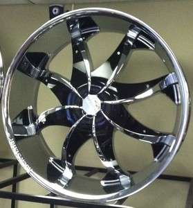 20 CHROME Wheels Rims+Tires PKG Black INSERTS ROCKNSTARR 608 FWD