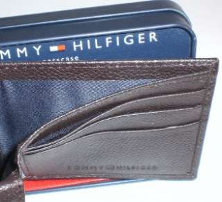 Genuine Leather Tommy Hilfiger Logo Interior Credit Card Slots Multi
