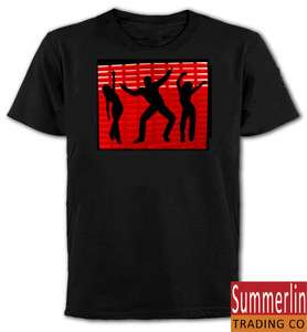 LED EL Sound Activated Dancing Clubbing Rave T Shirt S Red Dance Party