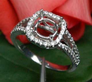 Cut Solid 14K WHITE GOLD .44CT DIAMOND Engagement Halo SEMI MOUNT RING