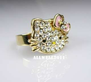 Color Ring Bling Crystal Rhinestone Adjustable In Ring Box
