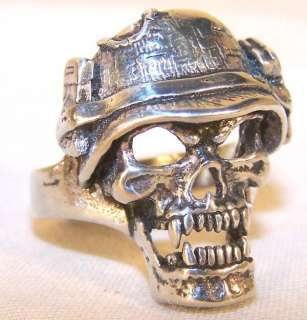 SOLDIER SKULL HELMET BIKER RING BR128 HEAVY silver NEW