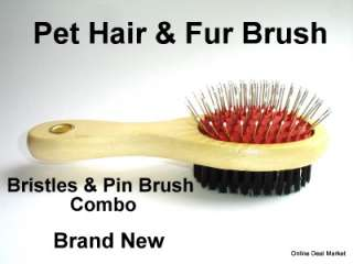 NEW WOOD HANDLE PET DOG CAT HAIR BRUSH COAT GROOMING DOUBLE SIDED PIN