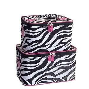 Pink Zebra Cosmetic Train Case   Two Piece Set Beauty
