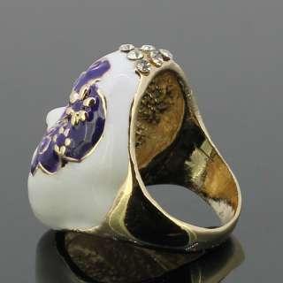 Crystals Black & Purple Beijing Opera Mask Enamel Ring