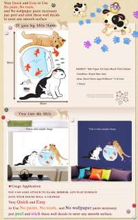 SS 58237 CAT & FISH Peel & Stick Wall Deco Art Sticker