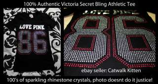 Victoria Secret Pink Black SUPER BLING 86 Football Athletic Tee Shirt