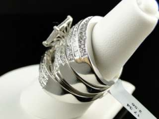 MENS LADIES PRINCESS CUT DIAMOND RING TRIO ENGAGEMENT WEDDING RING SET