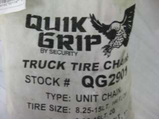 NEW QUICK GRIP BY SECURITY TRUCK TIRE CHAINS QG2901