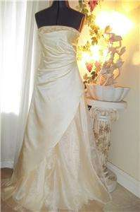 DAVIDS BRIDAL WEDDING PROM PAGENT FORMAL+ SHAW LONG DRESS (FREE SHIP