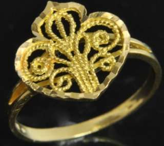 Vintage Yellow 21K Solid Gold Filigree Heart Heart Ring 7.5