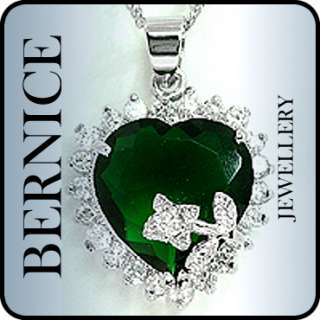 CHRISTMAS GIFT JEWELRY HEART CUT GREEN EMERALD WHITE GOLD GP PENDANT