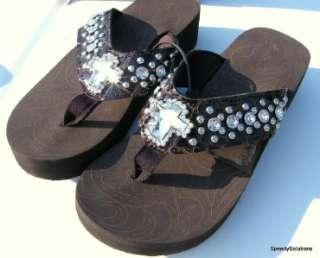 Pewter Cross Bling Western Rhinestone Flip Flop Sandals