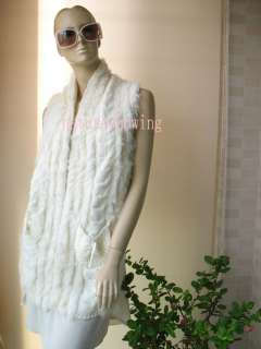 new real rabbit and wool line fur vest/coat (white)