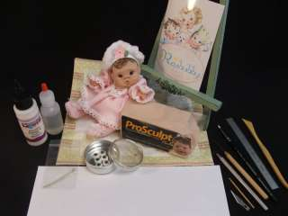 OOAK POLYMER CLAY BABY ART DOLL SUPPLIES TUTORIAL TOOLS EYES MOHAIR