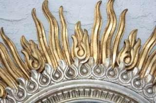 SUPER 48 Gold Leaf Italian Carved Wood Mid Century Modern Sunburst