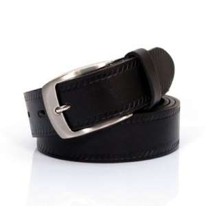 Men/Women Black Genuine Leather Belt 30/32/34/36/38/40