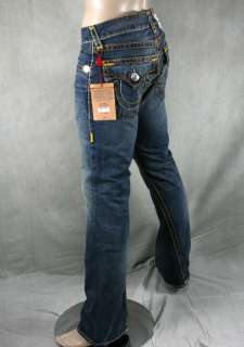 True Religion Jeans Mens JOEY Super T storm rider wheat multi stitch