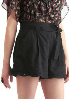 Daisy or Night Shorts   Casual, Vintage Inspired, 60s, 70s, Black