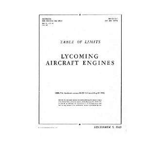 680 Aircraft Engine Table of Limits Manual Lycoming R 680 Books
