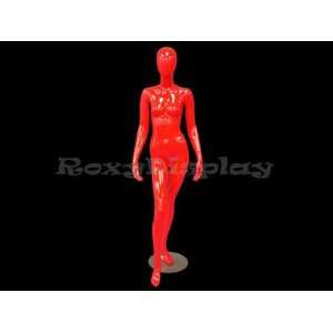 (MD F2R) Abstract Female Egg Head Mannequin Glossy Red