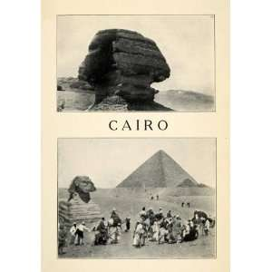 1912 Print Giza Cairo Sphinx Pyramid Costume Expedition