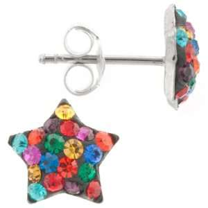 Silver Bright Multiple Colored Crystal Star Stud Earrings Jewelry