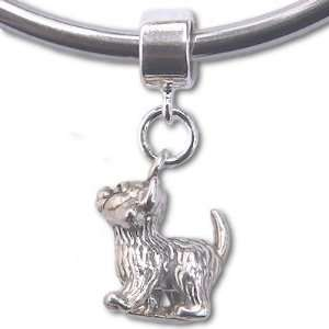 Kitten Kitty Cat Sterling Silver Dangle Charm Bead for European Style