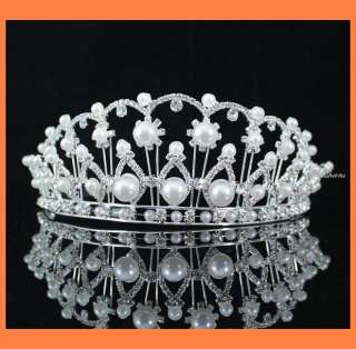 RHIESTONE TIARA CROWN PARTY WEDDING BRIDAL ACCESSORY PROM T631S