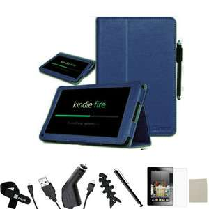 Fire Leather Case/Car Charger/USB/St​ylus/Screen Protector Navy Blue