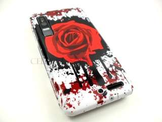 MOTOROLA DROID 3 PHONE RED ROSE WHITE HARD COVER CASE