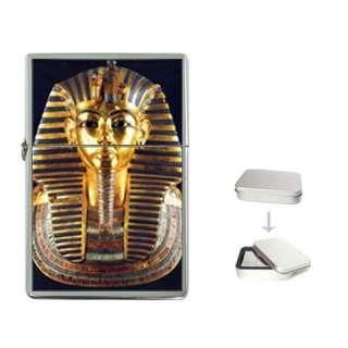 EGYPTIAN KING TUT MASK Flip Top Lighter Metal Chrome G