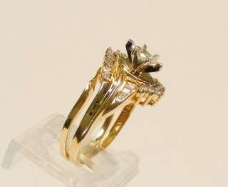 14K YELLOW GOLD .60cttw DIAMOND ENGAGEMENT RING & CUSTOM WRAP BAND SET