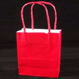 Bulk All Occasion Solid Color Paper Handle Gift Bags, Red, 4.5 Wide x