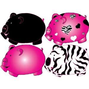 Black and Hot Pink Pig Removable Wall Decal Stickers