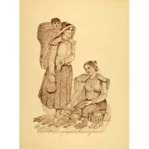 1949 Print Choctaw Native American Squaw Women Baby