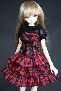 244# Red Plaid Dress/Shirt/Suit/Outfit 1/4 MSD DZ DOD BJD Dollfie
