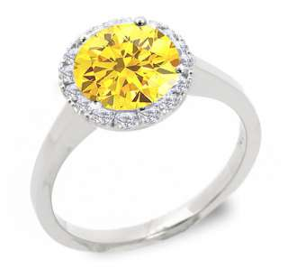 93 CT FANCY YELLOW ROUND DIAMOND SOLITAIRE RING 14K W GOLD