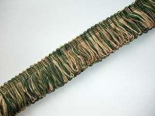 High Quality Loop Fringe Trim Green and Beige