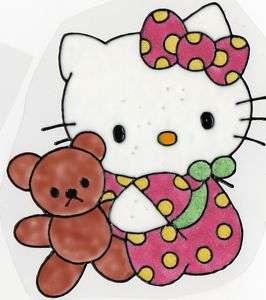WINDOW COLOR FENSTERBILD Hello Kitty mit Bär Glitzer