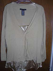 Knitted Gold Sweater W/ Mock Blouse Gold Sequins Large