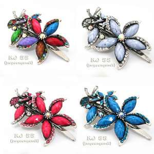 Flower Rhinestone Hair Clip Claw Multi Color Head 6976