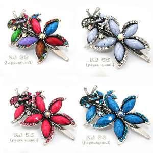 Flower Rhinestone Hair Clip Claw Multi Color Head 6976