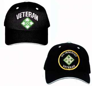 TWO 4th INFANTRY VETERAN Army Military Ball Cap Hats