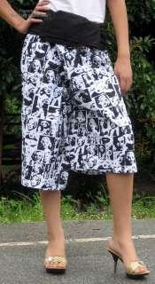 Capri Length Black Print Marilyn Monroe Fisherman Pants