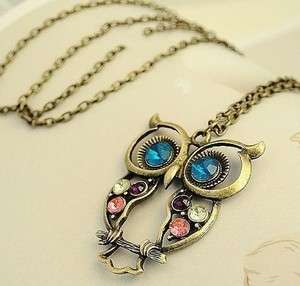 New Fashion Womens Vintage Colorful Cute Owl Carved Hollow Necklaces