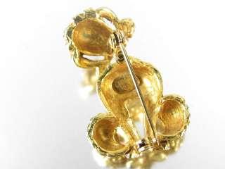 Vintage CADORO POODLE DOG Brooch Trembler figural Gold Tone Pin