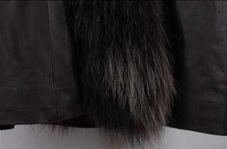 Womens Sheepskin Black Coat Real Fox Fur Collar Vest Long Warm Jacket